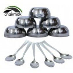Stainless Steel 12 Pcs Bowl & Spoon Set